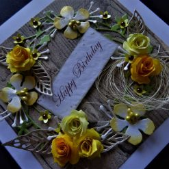 Handmade * Personalised * 3D * Boxed * Rustic style Birthday / Any occasion card. Yellow roses.