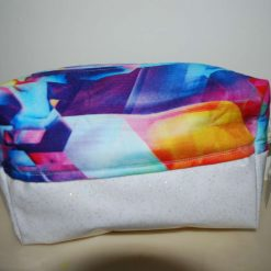 Handmade Cosmetic or Toiletry Bag. Sparkle Vinyl and Cotton