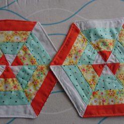 Pair of quilted trivet / Patchwork pot mat