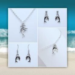 'Ocean' Dolphin Necklace | Dolphins Tibetan Silver Charm Birthday Christmas Mothers Mother's Day Valentine Anniversary Easter Jewellery Gift Ideas | Charming Gifts