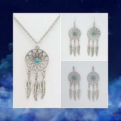 'Boho' Dream Catcher Necklace | Tibetan Silver Charm Birthday Christmas Mothers Mother's Day Valentine Anniversary Easter Bohemian Dreamcatcher Jewellery Gifts Gift Ideas