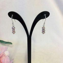 Pink Freshwater Pearl Earrings Silver