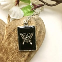 Pink Flower & Butterfly Pendant Necklace