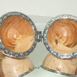 Handmade wooden hinged egg trinket box
