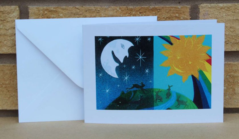 Equinox - Moon, Sun and Hares - Greetings Card - (Birthdays, all occasions) Hare by Sarah's Printing