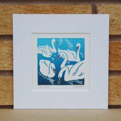 Eyrar - Swans - Original Lino Print by Sarah's Printing  [sarahs printing]