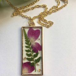 Purple Flowers Pendant Necklace