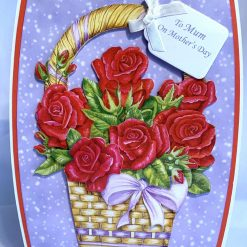 3D decoupage flowers in vase Handmade Card