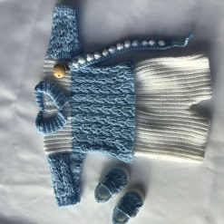 Baby boy handmade knitted set, sweater, shorts, shoes & dummy clip,  first size