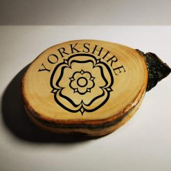 Handmade silver birch coaster with added vinyl sticker message - Yorkshire Rose
