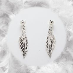 Feather Leaf Earrings   Tibetan Silver Charm Birthday Christmas Mothers Mother's Day Valentine Anniversary Easter Jewellery Gift Ideas   Charming Gifts