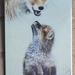 Fox and cub ceramic tile