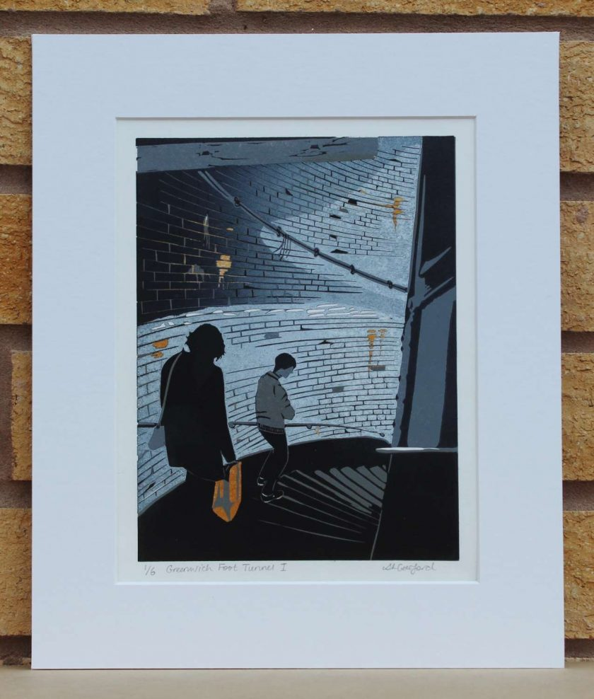 Greenwich Foot Tunnel I - Original Lino Print (London) by Sarah's Printing  [sarahs printing]