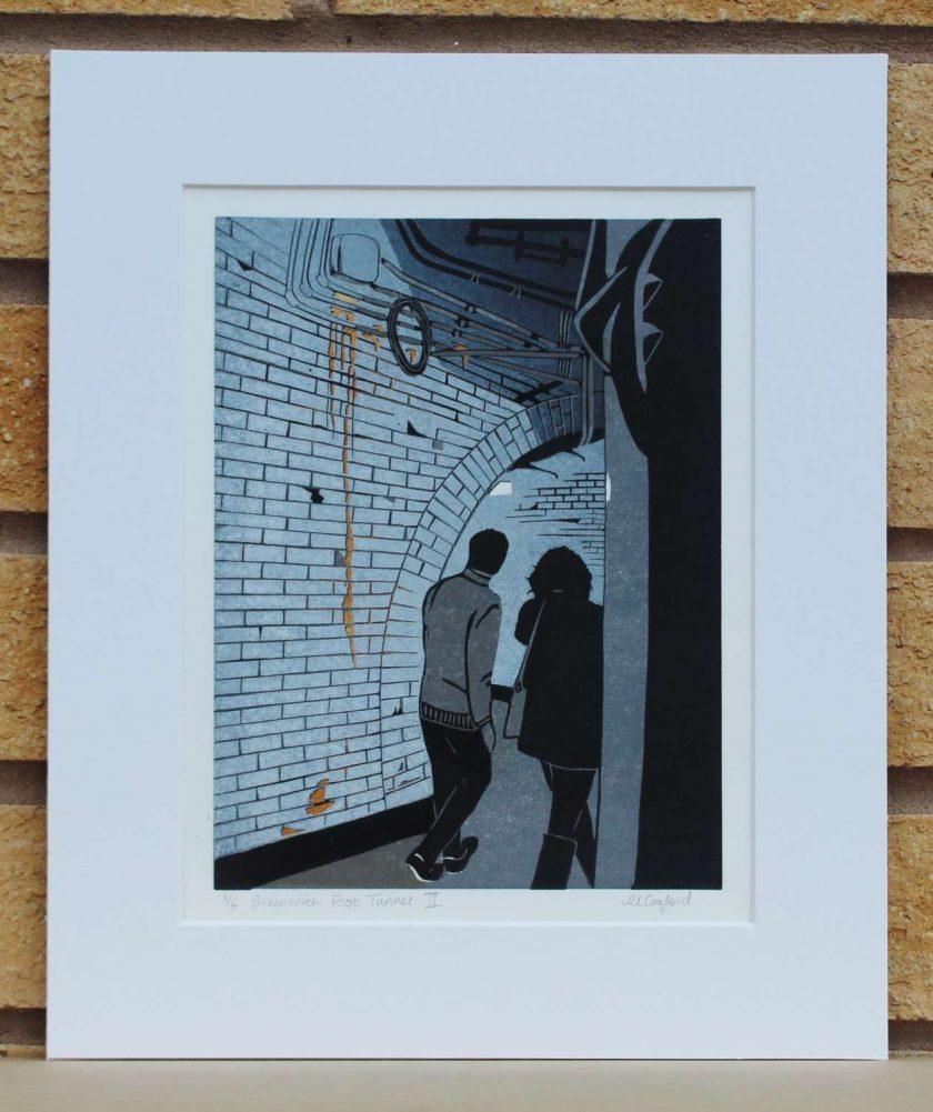 Greenwich Foot Tunnel II - Original Lino Print (London) by Sarah's Printing [sarahs printing]