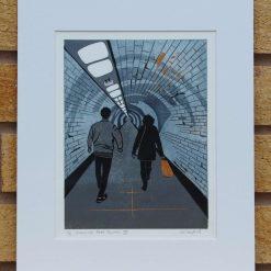 Greenwich Foot Tunnel III - Original Lino Print (London) by Sarah's Printing [sarahs printing]
