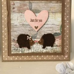 """Two Cute Hedgehogs """"just for you"""" handmade card"""