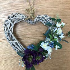 Purple Elegant Wicker Heart Shaped Wreath