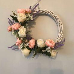 Gorgeous wicker silk cream rose and pink peony wreath