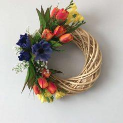 Bright Spring Flowers Wicker Wreath