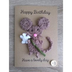 Knitted mouse/rat Mother's Day card