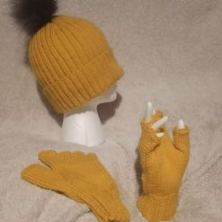 Hand Knitted Ribbed Bobble Hat
