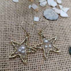 Gold and Pearl Star earrings