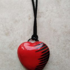 ❤ Statement domed polymer clay heart pendant -red and pewter ❤