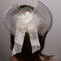 Fascinator / Hatinator Wedding headdress  Bride hair clip  Cream crinolene bow  silk flowers and ribbons  wedding bow  bridesmaid clip cream flower