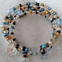 Ice Blue, Gold, Brown & Cream Coloured  Beaded Memory Wire Bracelet