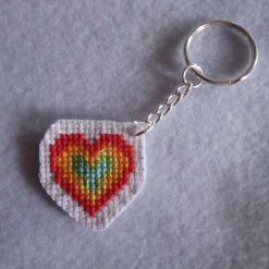 Rainbow Heart Cross stitch keyring