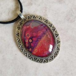 Pretty, unique fluid art pendant