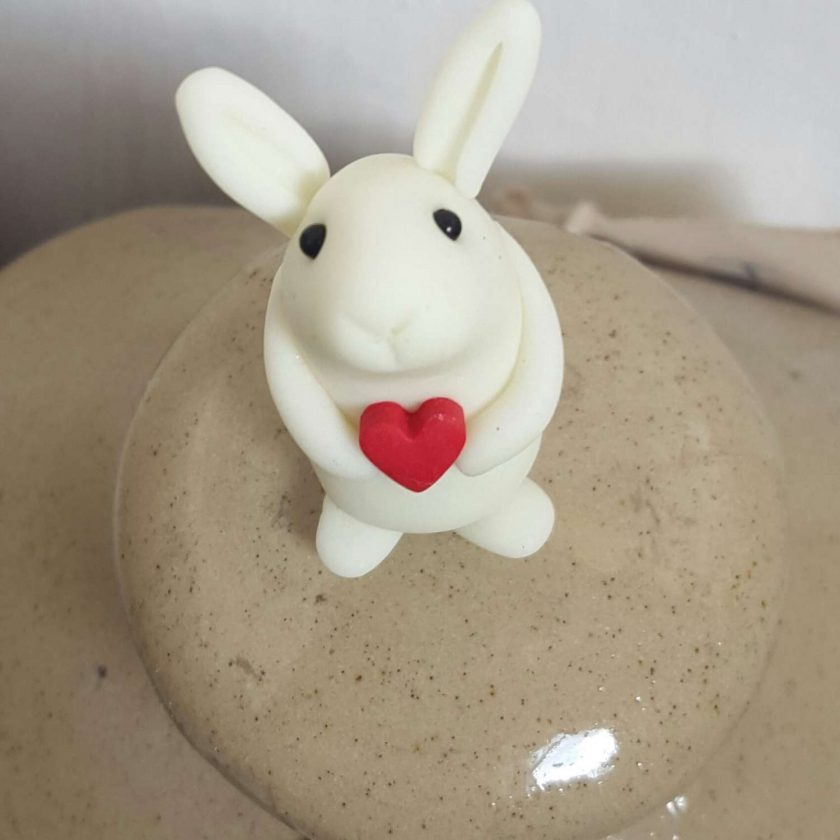 Mini bunny with heart - glow in the dark - ornament - Valentine gift - Easter - rabbit - cake topper - birthday - thank you