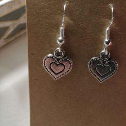 Silver Dangle Earrings Heart Earrings Tibetan Charm earrings with sterling silver ear hooks