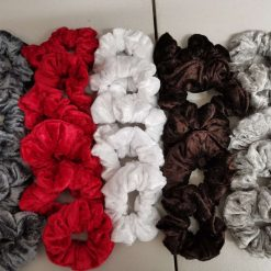 Sets of 2, 3 or 5 Handmade velvet scrunchies with free UK postage.