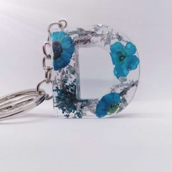 Resin blue flower keychain   Free Delivery   Gold or Silver Foil  