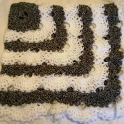 Crocheted Baby shawl grey and wh