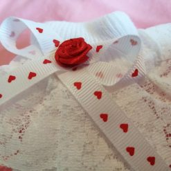 Frilly baby socks newborn red and white