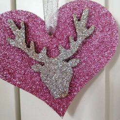 3 X Stags Head Christmas Tree Decorations Pink Silver