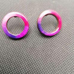 Small ombre pink purple stud hoop