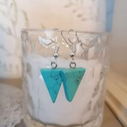 Turquoise Triangle Gemstone Earrings