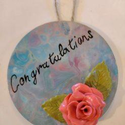 Congratulations fluid art wall hanger.