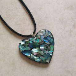 ❤ shell and polymer clay pendant - blues and greens ❤
