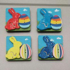fridge magnet  bunny & egg wooden decorative square