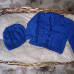Royal blue newborn cardigan & hat set