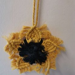Macramé Sunflower wall hanging cotton cord and yarn  with Free UK postage.