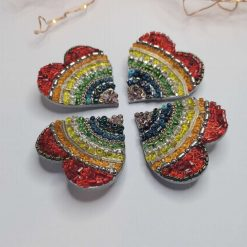 Beautiful 4cm Rainbow Heart Brooch Badge