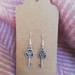 Silver Dangle Earrings Key Earrings Tibetan Charm earrings with sterling silver ear hooks