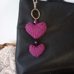 Hand Knitted single heart keyring