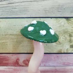 Ceramic Green Heart Mushroom