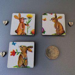Fridge magnet bunny Decoupage decorative wooden square